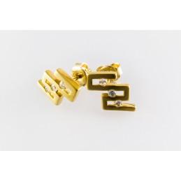 585 Gold Ohrringe. Ohrstecker. ZigZag. Zirkonia. (GOR30)