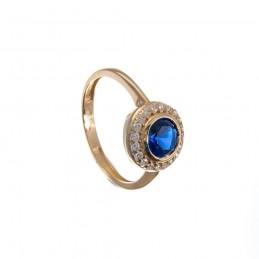 585 Gelbgold Ring mir Blauem Stein. (GR2)
