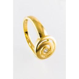 585 Gelbgold Ring. Spiral. Zirkonia. Matt. (GR3)