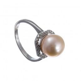 925 Sterling Silber Ring mit rosa Perle . Süßwasserzuchtperle. (SR24)