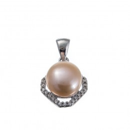925 Sterling Silber Anhänger mit rosa Perle. Süßwasserzuchtperle.  (SAN59)