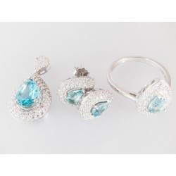 Silber Schmuckset Ring, Ohrringe und Anhänger
