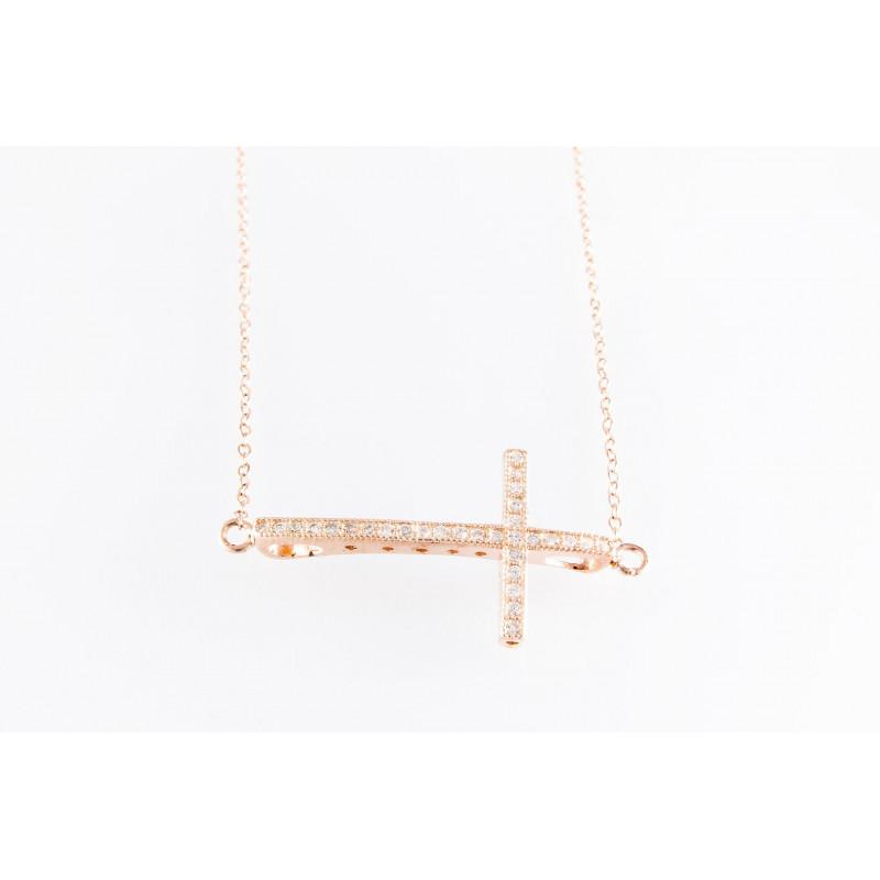 925 Silber Kette Kreuz. rosé vergoldet. Zirkonia. (SK13)