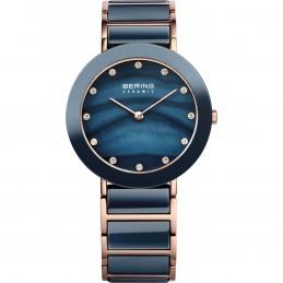 Bering Time Damen-Armbanduhr Keramiklünette Saphirglas Analog Quarz Edelstahl beschichtet (11435-767)