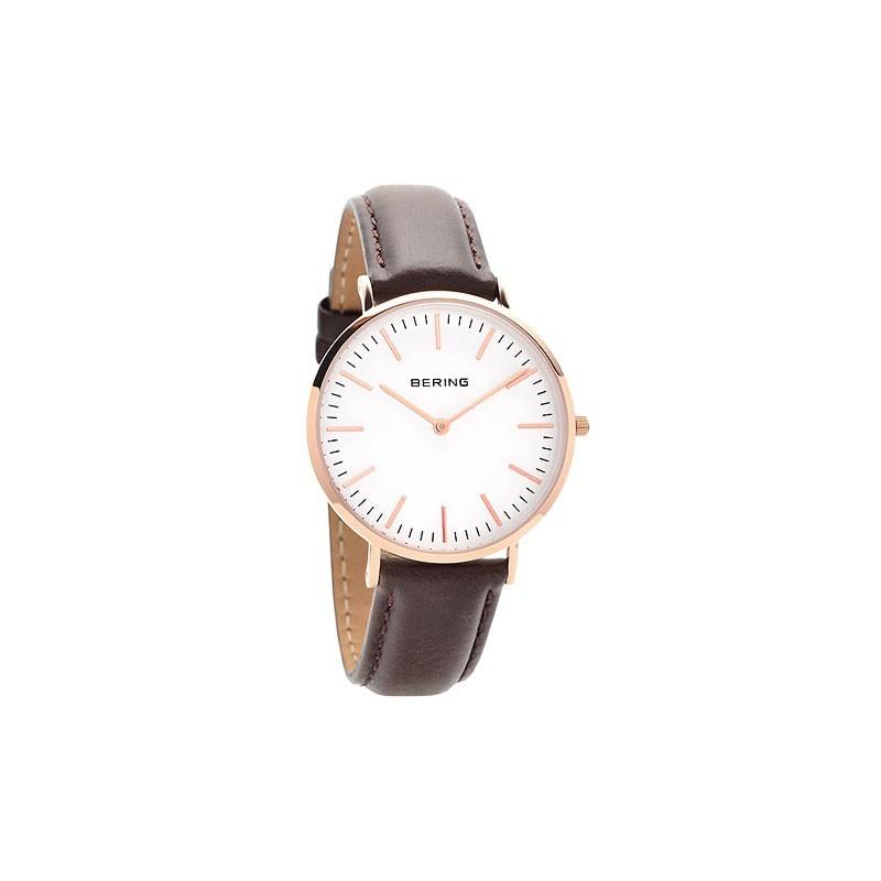 Bering Time Herren-Armbanduhr XL Analog Quarz Leder (13738-564)
