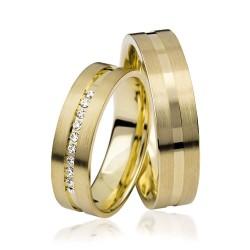 585K. Gelbgold Hochzeitsringe Eheringe Trauringe Partnerringe Zirkonia PAARPREIS (S105)