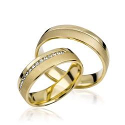 585K. Gelbgold Hochzeitsringe Eheringe Trauringe Partnerringe Zirkonia PAARPREIS (S106)