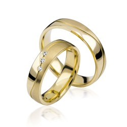 585K. Gelbgold Hochzeitsringe Eheringe Trauringe Partnerringe Zirkonia PAARPREIS (S107)