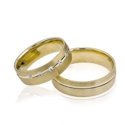 585K. Gelbgold Hochzeitsringe Eheringe Trauringe Partnerringe Zirkonia PAARPREIS (S108)