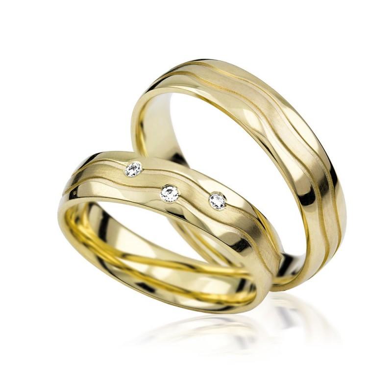 585K. Gelbgold Hochzeitsringe Eheringe Trauringe Partnerringe Zirkonia PAARPREIS (S109)