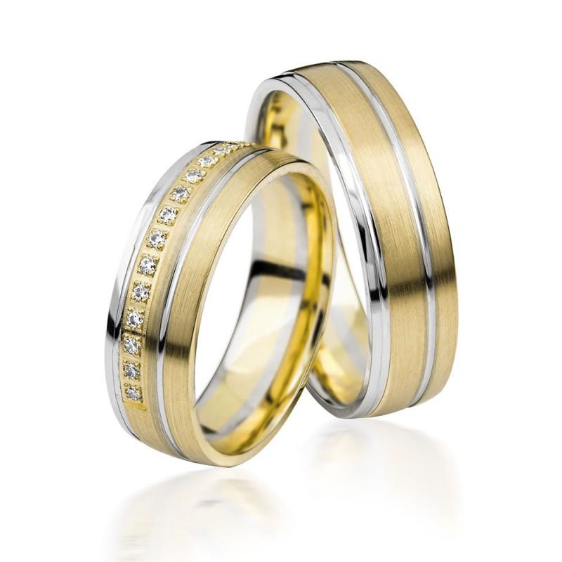 585K. (14K) Gelbgold- Weissgold Hochzeitsringe Eheringe Trauringe Partnerringe mit Zirkonia PAARPREIS (S132)