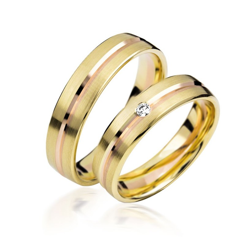 585K. Gelbgold Hochzeitsringe Eheringe Trauringe Partnerringe Zirkonia PAARPREIS (S134)
