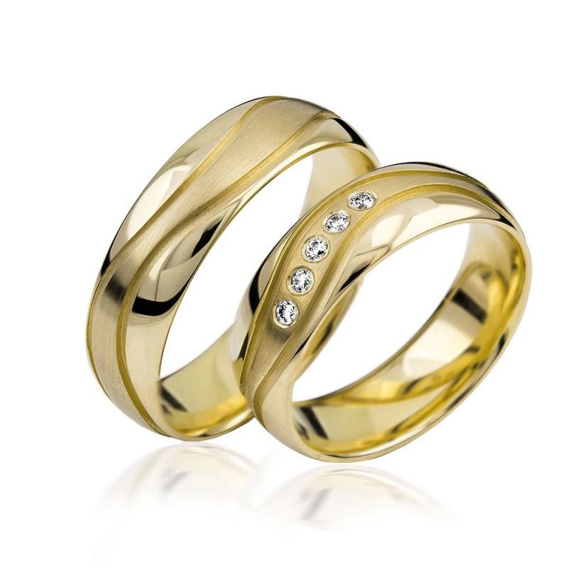 585K. Gelbgold Hochzeitsringe Eheringe Trauringe Partnerringe Zirkonia PAARPREIS (S110)