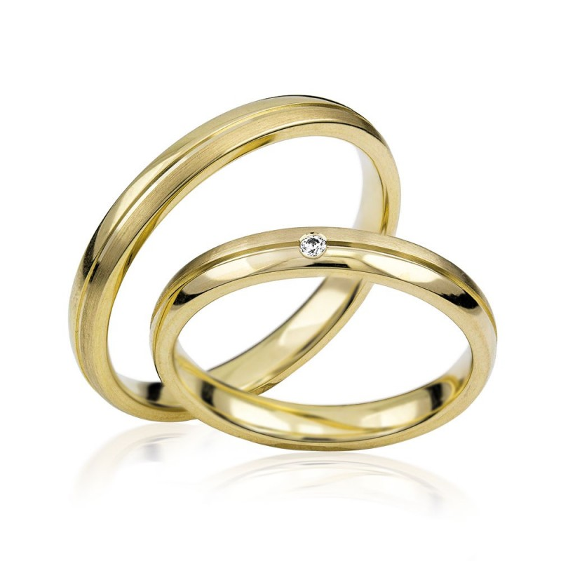 585K. Gelbgold Hochzeitsringe Eheringe Trauringe Partnerringe Zirkonia PAARPREIS (S111)