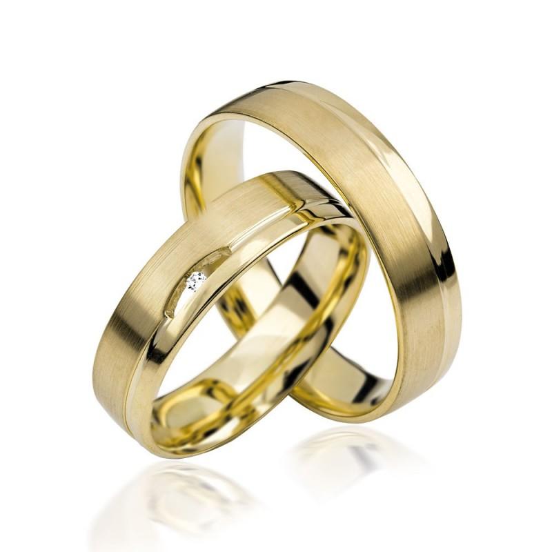 585K. Gelbgold Hochzeitsringe Eheringe Trauringe Partnerringe Zirkonia PAARPREIS (S112)