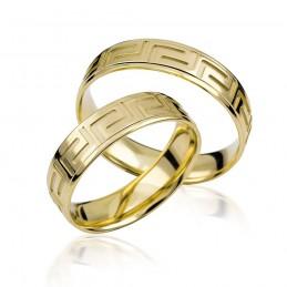 585K. Gelbgold Hochzeitsringe Eheringe Trauringe Partnerringe mit Mäander MusterPAARPREIS (S114)