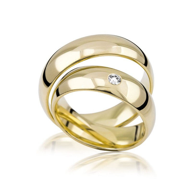 585K. Gelbgold Hochzeitsringe Eheringe Trauringe Partnerringe Zirkonia PAARPREIS (S102)