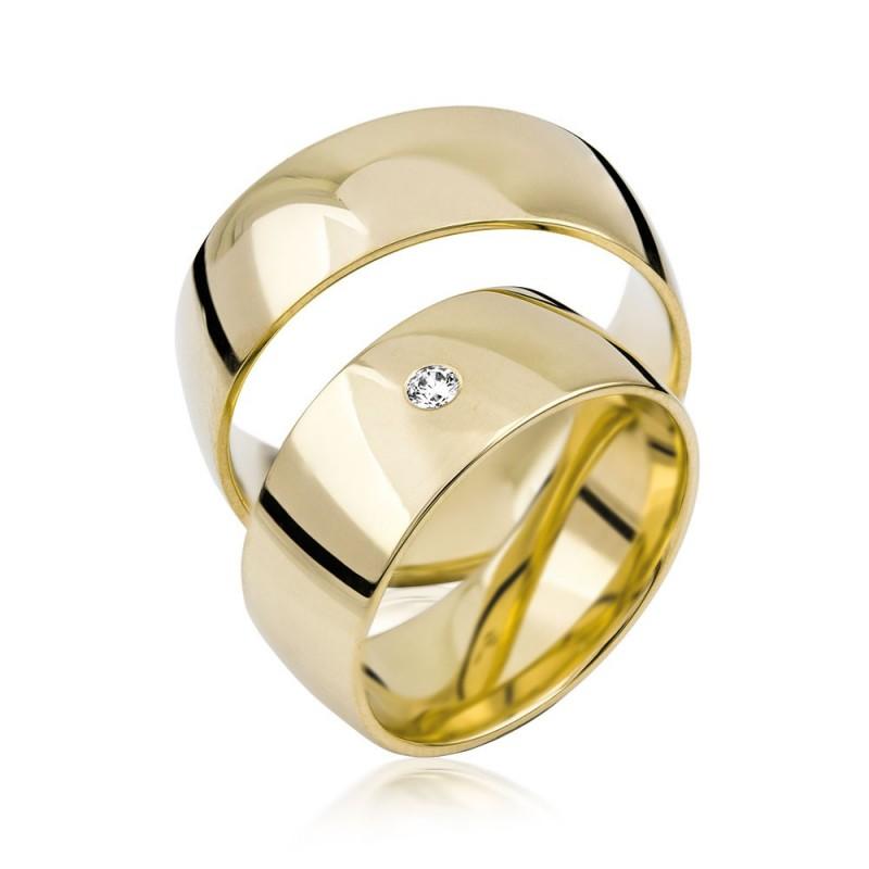 585K. Gelbgold Hochzeitsringe Eheringe Trauringe Partnerringe Zirkonia PAARPREIS (S103)