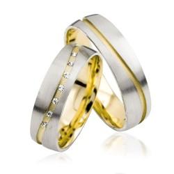 585K. Weissgold-Gelbgold Hochzeitsringe Eheringe Trauringe Partnerringe Zirkonia PAARPREIS (S125)