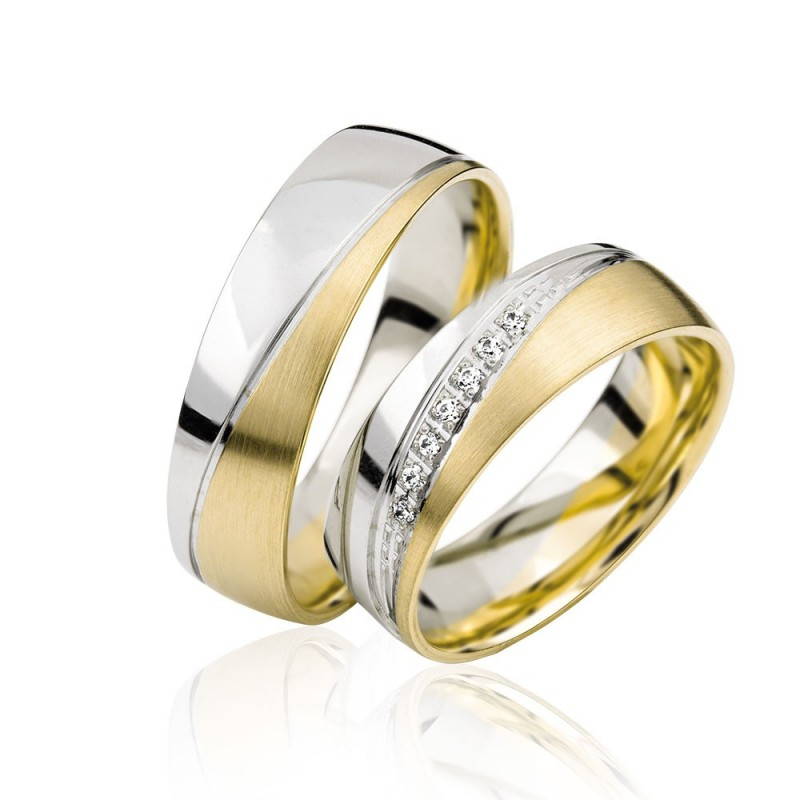 585K. Gelbgold-Weissgold Hochzeitsringe Eheringe Trauringe Partnerringe mit 7 Zirkonia Steine PAARPREIS (S126)