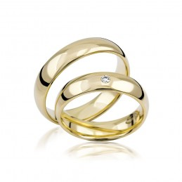 585K. Gelbgold Hochzeitsringe Eheringe Trauringe Partnerringe Zirkonia PAARPREIS (S101)
