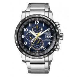 Citizen Herren-Armbanduhr Solar Eco-Drive Funkuhr Chronograph Quarz Edelstahl AT8124-91L