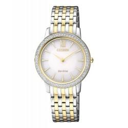 Citizen Damen-Armbanduhr Solar (Eco Drive) Bicolor Elegance Analog Quarz  EX1484-81A
