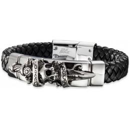 Save Brave Edelstahl- Leder Armband Herrenarmband 21cm. (SBB-JACK-21)