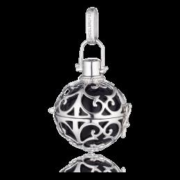 Engelsrufer Silber rhodiniert Anhänger schwarz Klangkugel 24mm.  ER-02-L