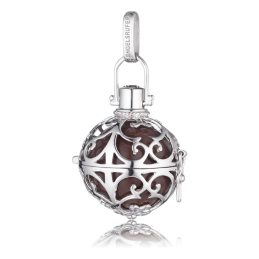 Engelsrufer Silber rhodiniert Anhänger braun Klangkugel.L  24mm.  (ER-03-L)