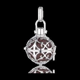 Engelsrufer Silber rhodiniert Anhänger braun Klangkugel.M  20mm.  (ER-03-M)