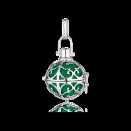 Engelsrufer Silber rhodiniert Anhänger grün Klangkugel.S  216mm.  (ER-04-S)