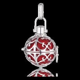 Engelsrufer Silber rhodiniert Anhänger rot Klangkugel.L  24mm.  (ER-05-L)