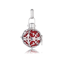 Engelsrufer Silber rhodiniert Anhänger rot Klangkugel.S  16mm.  (ER-05-S)