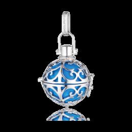 Engelsrufer Silber rhodiniert Anhänger türkis Klangkugel. M. 20mm. (ER-06-M)