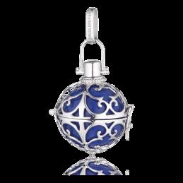 Engelsrufer Silber rhodiniert Anhänger blau Klangkugel.L 24mm. (ER-07-L)