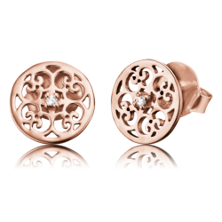 Engelsrufer Damen- Ohrstecker Silber rosevergoldet mit Zirkonia Ornament (ERE-ORNA-ZI-STR)