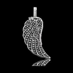 Engelsrufer Silber Anhänger Flügel mit Kristall-grau. Rhodiniert. Groß (ERW-L3-17-ZI)
