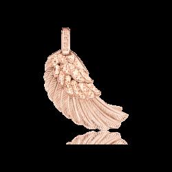 Engelsrufer Anhänger Silber rose-vergoldet  Kristall ( champagner ) Flügel Mittel größe (ERW-M-16-ZI-R)