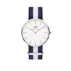 Daniel Wellington Uhr Classic Glasgow Nato-blau-weiß Herren Textilarmband NEU 0204DW / DW00100018