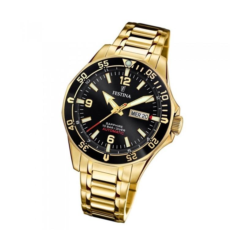 Festina Automatik Herren Armbanduhr vergoldet Saphirglas