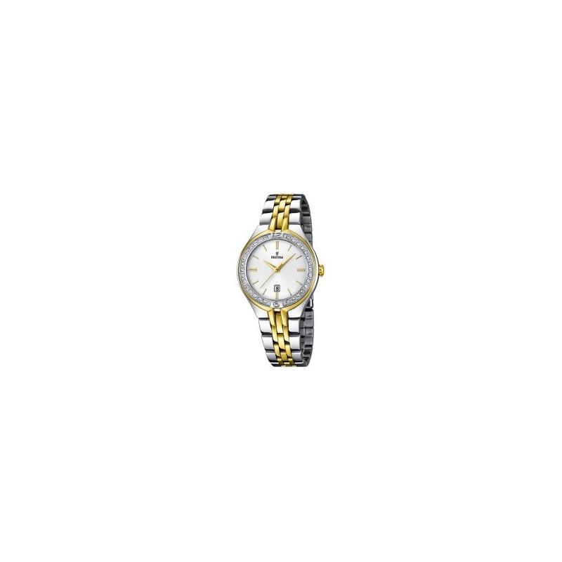 Festina Quarzuhr Edelstahl bicolor Damenuhr, Damen Uhr Elegant-Style F16868/1