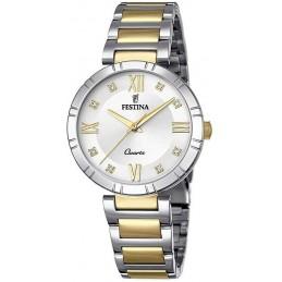 Festina Damen Analog Quarz Uhr mit bicolor Edelstahl Armband F16937-A