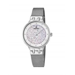 Festina Damen Analog Quarz Uhr mit Edelstahl Armband F20385/1