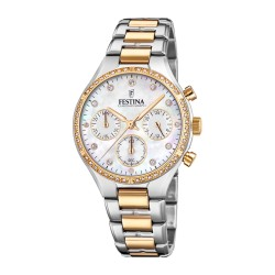 Festina Damen Chronograph Quarz Uhr mit Edelstahl Armband F20402/1