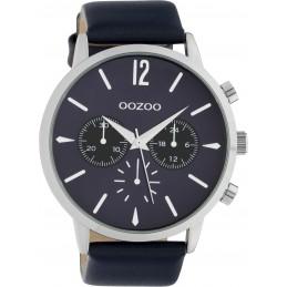 Oozoo Herrenuhr Chrono Look mit Lederband 48 MM Silber/Dunkelblau C10358