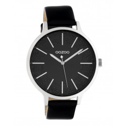 Oozoo Damenuhr Armbanduhr mit Lederband 45 MM Schwarz / Glitzer C10569