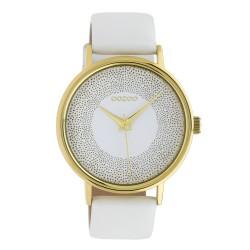 Oozoo Damenuhr mit Glitzereffekt und Lederband 42 MM Goldfarben / Weiß C10576
