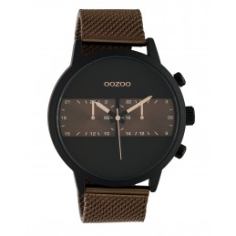 Oozoo Herrenuhr Chrono Look mit Milanaiseband 50 MM Schwarz/Braun C10513