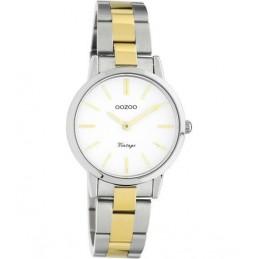 Oozoo Vintage Damen Uhr Edelstahlarmband bicolor/white Ø30mm C20112